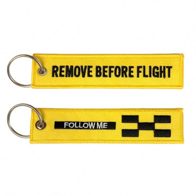 Nyckelband - REMOVE BEFORE FLIGHT / FOLLOW ME - Gul/Svart