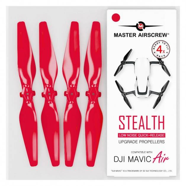Master Airscrew - DJI Mavic Air Stealth Upgrade Propellers V2 - Propeller till DJI Mavic Air - Röd - Kit 4-Pack