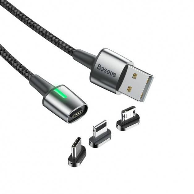 Baseus Zinc Magnetic Cable Kit, USB kabel 3 i 1 - 1.5/2A, 2m LED - Svart
