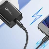 Ugreen USB-A - Micro USB-Kabel, QC 3.0, 2.4A, 1m - svart