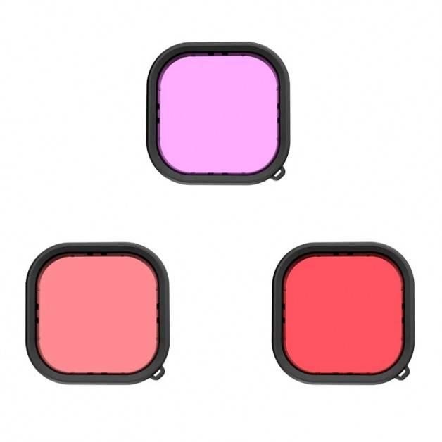 Färgfilter Röd + Ljusröd + Lila till Hero9 Black i vattentätt skal - Paket