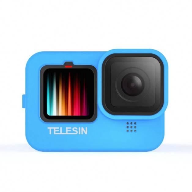 Silikonskal till GoPro Hero9 Black - Linsskydd, Handledsrem - Blå