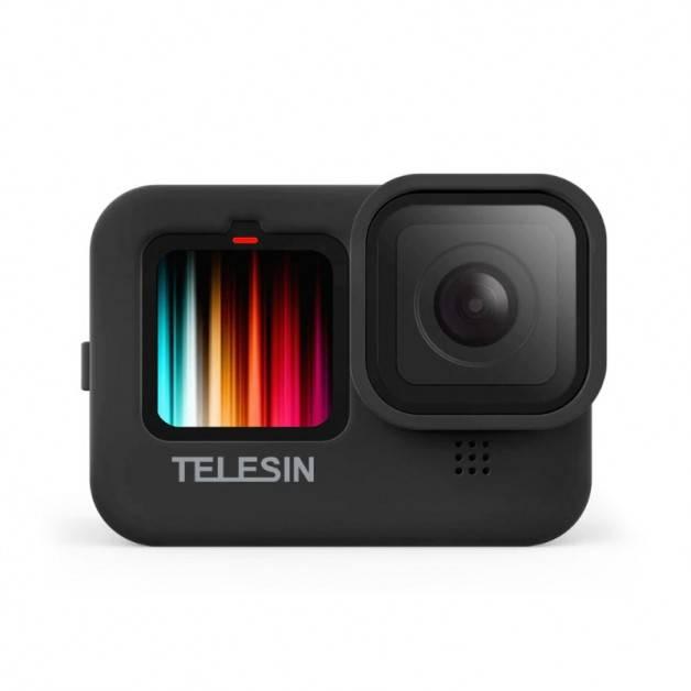 Silikonskal till GoPro Hero9 Black - Linsskydd, Handledsrem - Svart