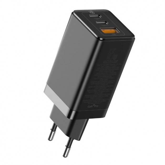 Baseus GaN PRO Quick Travel Charger - Väggladdare - Snabbladdare QC4+ / PD 65W - 100-240V till USB - 3xUSB Typ A/C - Svart