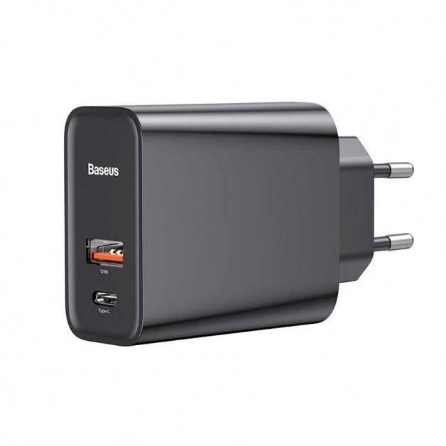Baseus Quick Charger - Väggladdare - Snabbladdare QC3.0+ / PD 30W - 100-240V till USB - 2xUSB Typ A/C - Svart