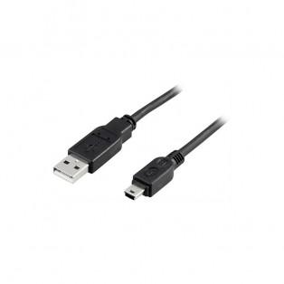 DELTACO USB 2.0 kabel Typ A Hane - Typ Mini B Hane 1m - svart