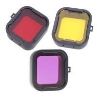 Färgfilter för dykning Gul + Röd + Lila - Paket